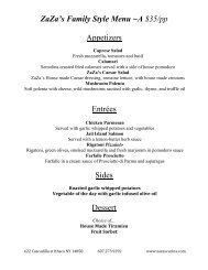 ZaZa's Family Style Menu ~A $35/pp Appetizers ... - ZaZa's Cucina