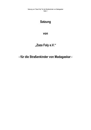 Satzung neu 2011 ohne markierung - Zaza Faly eV