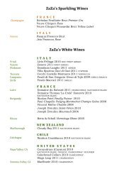 ZaZa's Sparkling Wines ZaZa's White Wines - ZaZa's Cucina