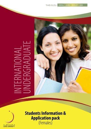 Students Information & Application pack (Females) - Zayed University