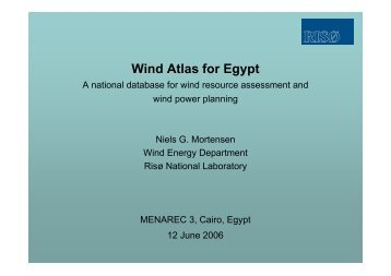 Wind Atlas for Egypt. A national database for wind resource ...