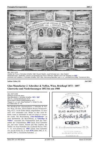 Glas-Manufactur J. Schreiber & Neffen, Wien, Briefkopf - Pressglas ...