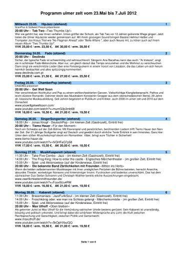 Programm ulmer zelt vom 23.Mai bis 7.Juli 2012