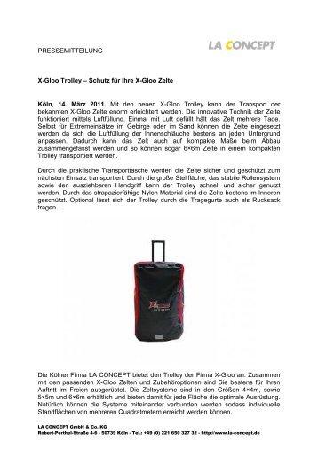 PRESSEMITTEILUNG X-Gloo Trolley – Schutz für Ihre X-Gloo Zelte ...