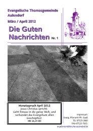Nr. 1 März – April 2012 - Evang. Kirchengemeinde Aulendorf