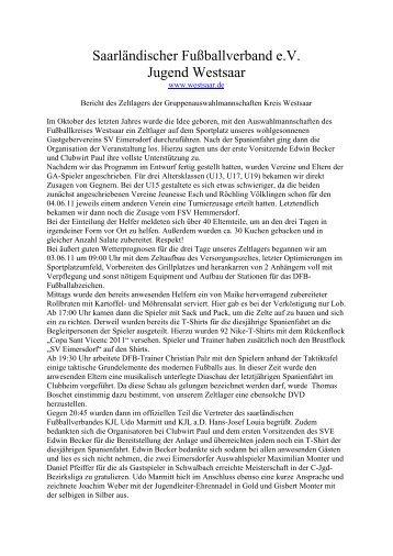 Ausführlicher Bericht hier..... - Saarländischer Fußballverband e.V.