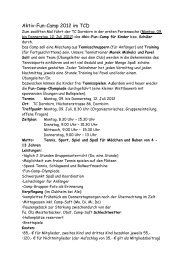 Aktiv Fun Camp Infos an die Eltern 2012! - TC Dornbirn