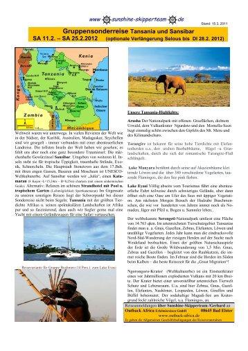 Gruppensonderreise Tansania und Sansibar - Sunshine Skipperteam