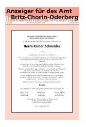 Herrn Rainer Schneider - Amt Britz-Chorin-Oderberg