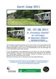 Karst-Camp 2011 Verbindliche Anmeldung bis 01.08.2011