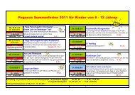 Pegasus Sommerferien 2011 für Kinder von 6 - 12 Jahren