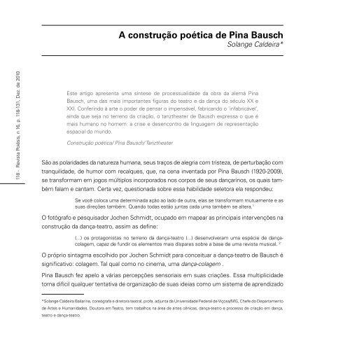 A Construção Poética De Pina Bausch Revista Poiesis