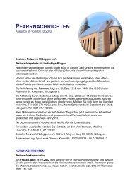 pfarrnachrichten - katholischen Kirchengemeinde St. Hubertus in ...