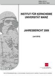 institut für kernchemie universität mainz jahresbericht 2009