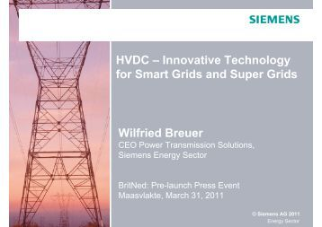 HVDC – Innovative Technology for Smart Grids and ... - Siemens