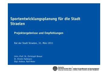 Sportentwicklungsplanung für die Stadt Straelen - in Straelen