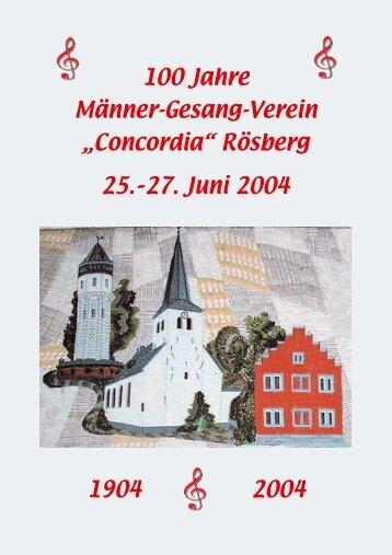 """100 Jahre Männer-Gesang-Verein - MGV """"Concordia"""" Rösberg"""