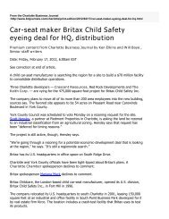 Car-seat maker Britax Child Safety eyeing deal for HQ, distribution
