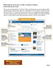 Guided Tour of Britannica Online Academic Edition - Encyclopaedia ...