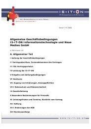 Allgemeine Geschäftsbedingungen IS-IT-ON - IS-IT-ON GmbH