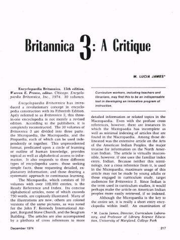 Britannica 4: A Critique - ASCD