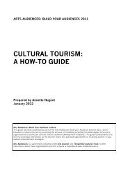 CULTURAL TOURISM: A HOW-TO GUIDE - Arts Audiences