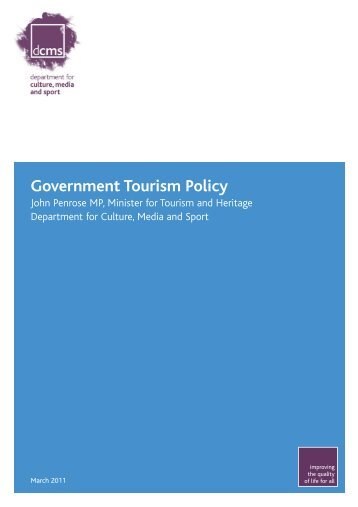 Government Tourism Policy - Department for Culture Media and Sport