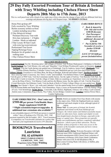 29 Day Fully Escorted Premium Tour of Britain & Ireland with Tracy ...