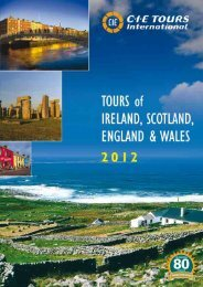CIE Tours - Ireland & Britain Tour Operators Tariff 2012