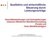 Qualitative und wirtschaftliche Steuerung durch Leistungsverträge