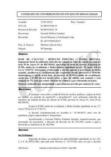 352410ce - Secretaria de Estado de Fazenda de Minas Gerais