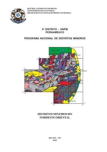 DISTRITOS MINEIROS DO NORDESTE ORIENTAL - DNPM