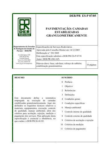 DER/PR ES-P 07/05 PAVIMENTAÇÃO: CAMADAS ESTABILIZADAS ...