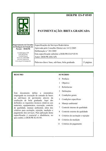 DER/PR ES-P 05/05 PAVIMENTAÇÃO: BRITA GRADUADA