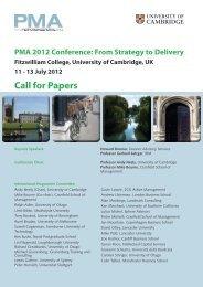 PMA 2012 Conference - Cranfield School of Management