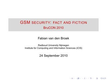 GSM security: fact and fiction - BruCON 2010