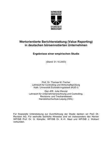 Wertorientierte Berichterstattung (Value Reporting) in deutschen ...