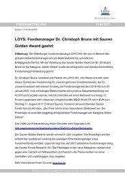 Fondsmanager Dr. Christoph Bruns mit Sauren Golden ... - LOYS AG