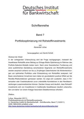 Portfoliooptimierung mit Rohstoffinvestments - Deutsches Institut für ...