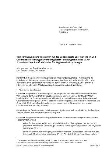 Vernehmlassung zum Vorentwurf für das Bundesgesetz ... - Der SBAP.