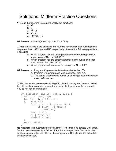 Solutions: Midterm Practice Questions - Doug Wightman