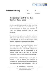 Hölderlinpreis 2012 für den Lyriker Klaus Merz - Bad-Homburg