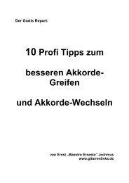 """Der Gratis Report """"10 Profi Tipps zum besseren Akkorde-Greifen ..."""