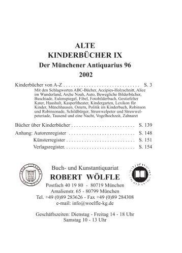 ALTE KINDERBÜCHER IX Der Münchener Antiquarius 96 2002