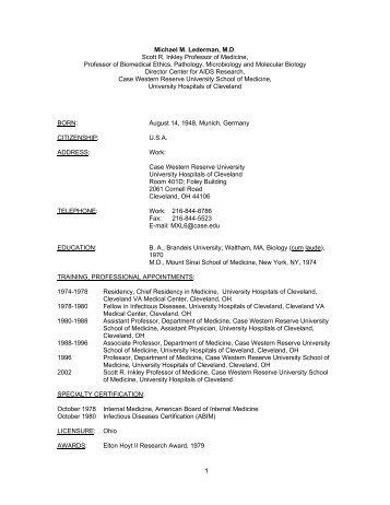 1 Michael M. Lederman, MD Scott R. Inkley - Case Western Reserve ...