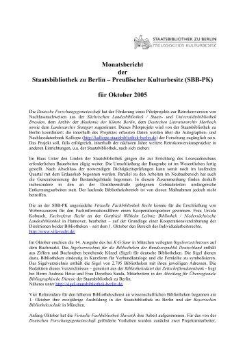 Oktober 2005 - Staatsbibliothek zu Berlin