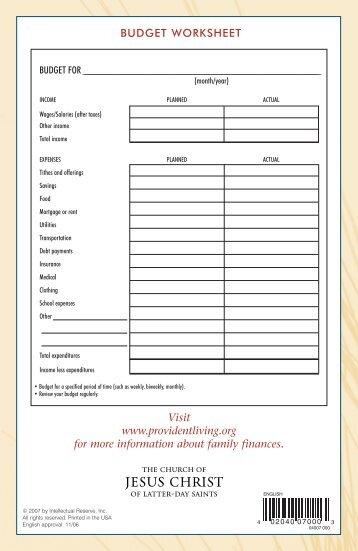 Lds family budget worksheet pdf