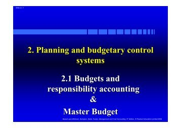 2.1 Budgets, responsibility accounting and master budget - Userpage