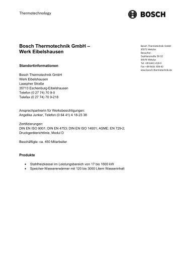 Bosch Thermotechnik GmbH – Werk Eibelshausen
