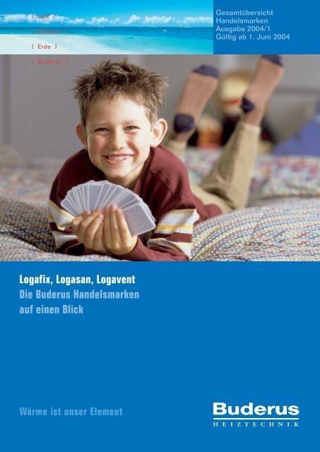 Logafix, Logasan, Logavent Die Buderus Handelsmarken auf einen ...